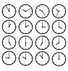 set icon black clock face vector image vector image