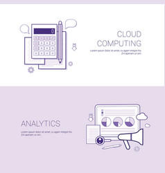 Set of cloud computing and analytics banners vector