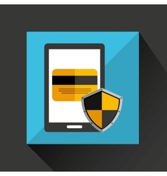 Smartphone cartoon credit card bank save icon vector