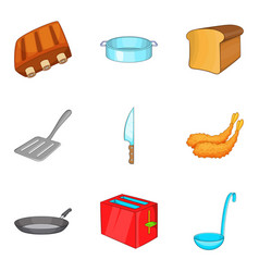 toast icons set cartoon style vector image vector image