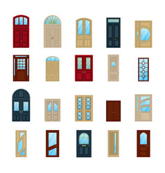 wood or wooden facade exterior doors icons vector image vector image
