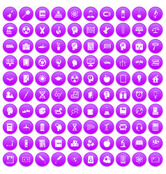 100 education icons set purple vector