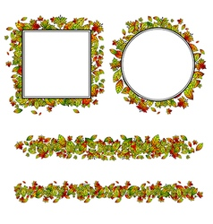 Autumn leaf different border vector