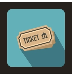 Museum ticket icon flat style vector