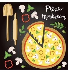 Mushroom pizza with vector