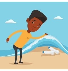 Man showing plastic bottles under sea wave vector
