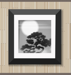 japanese painting graphic art in frame with pine vector image
