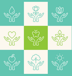 set of outline signs caring hands with vector image