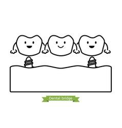 Dental bridge - cartoon outline style vector