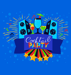 Cocktail party lettering on banner disco clud vector