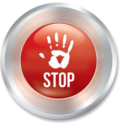 Hand stop button age limit red round sticker vector
