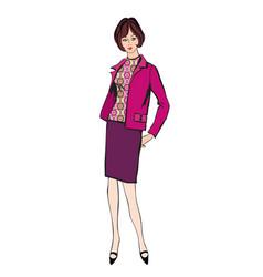 Retro stylish fashion dressed girl vector