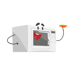 Funny microwave character with smiling face vector