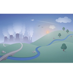 Landscape with power plant vector