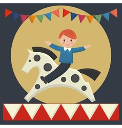Boy sitting on horse vector