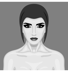 Old-fashioned beauty woman with big eyes vector