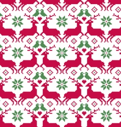 Nordic seamless reindeer and birds vector