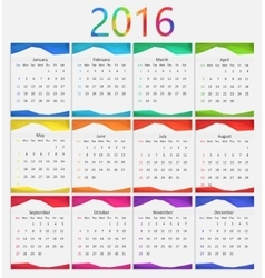 2016 calendar  new year vector