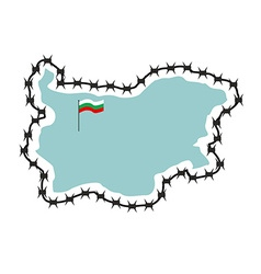 Map of bulgaria map of states with barbed wire vector