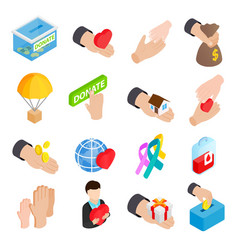 Donate given isometric 3d icons vector