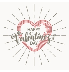Retro valentine day card vith line heart icon vector