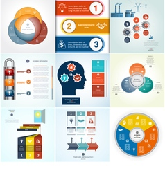 Infographics 9 templates set three positions vector