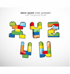 Alphabet set created from playing bricks with vector
