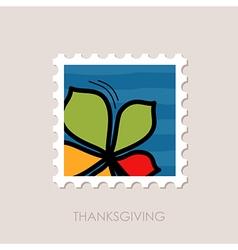 Autumn leaves chestnut stamp vector