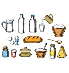 Bakery cheese and dough ingredients vector