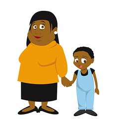 black mother and son vector image vector image