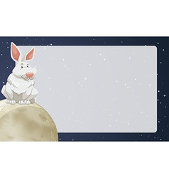 Border design with rabbit on moon vector image vector image