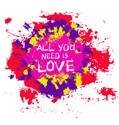 Colorful painted blotch love slogan vector