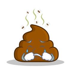 Crying poop emoticon character cartoon vector