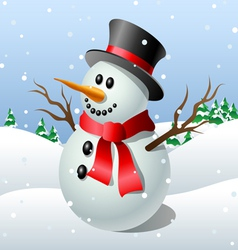 Cute cartoon snowman vector image vector image