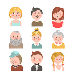 different aged people faces vector image