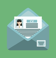 envelope with a cv on the green background vector image