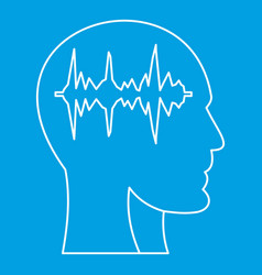 Equalizer inside human head i icon outline style vector