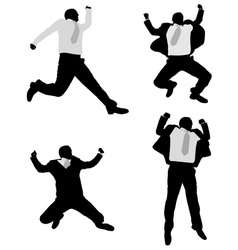 Excited businessmen jump vector