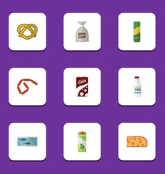 Flat icon meal set of bottle packet beverage vector
