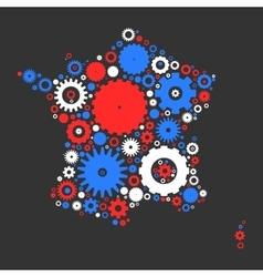 France map silhouette mosaic of cogs and gears vector