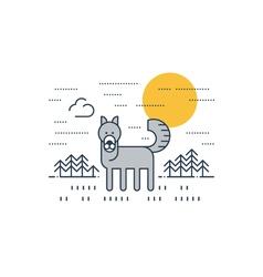Grey wolf outdoor simple cartoon vector