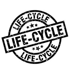 Life-cycle round grunge black stamp vector