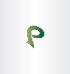 Logotype p letter p logo icon green symbol vector
