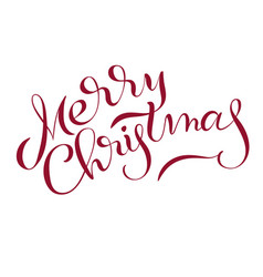 merry christmas text isolated on white background vector image vector image