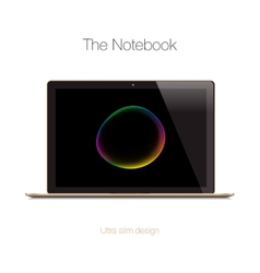 Modern gold glossy laptop isolated on white vector
