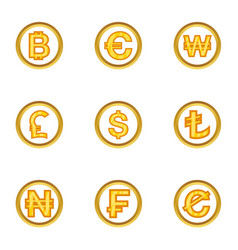 money icon set cartoon style vector image vector image