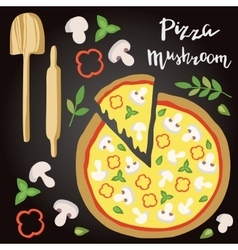 Mushroom pizza with vector