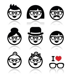 People wearing glasses geeks icons set vector