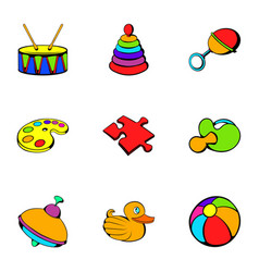 Playschool icons set cartoon style vector
