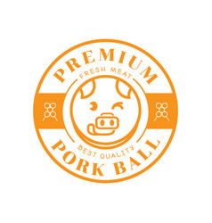 Premium pork ball with pig stick out tongue vector